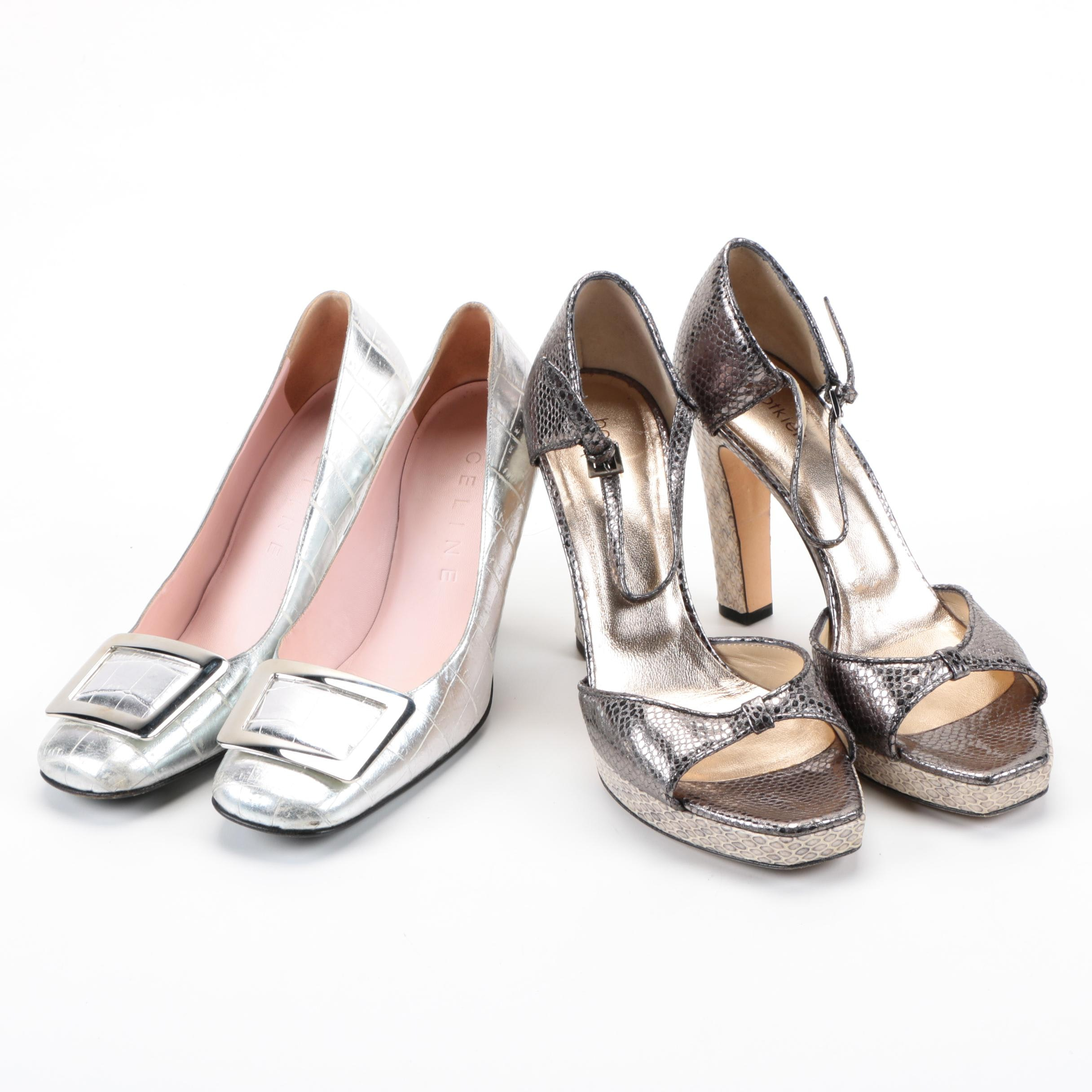 Women's Metallic Leather Shoes Including Celine