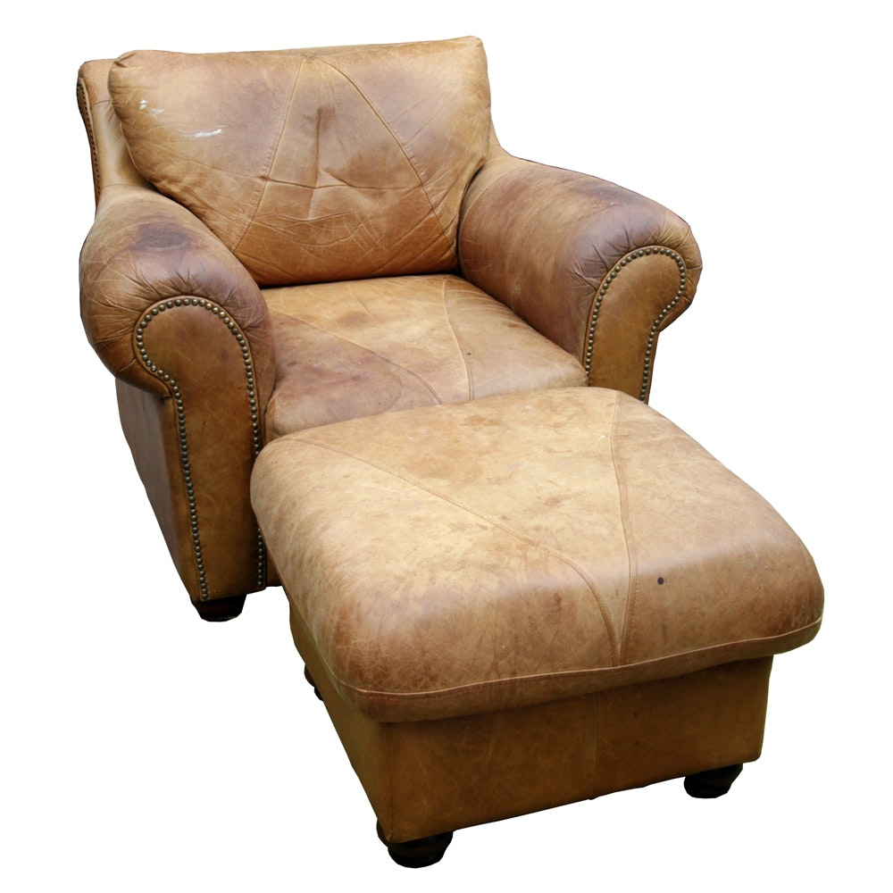 Exceptional Vintage Leather Chair And Ottoman ...