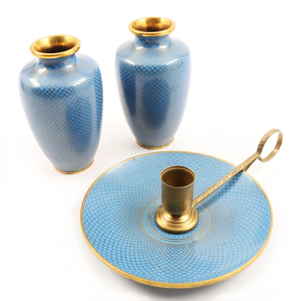 Enameled Pair of Vases and Candle Holder