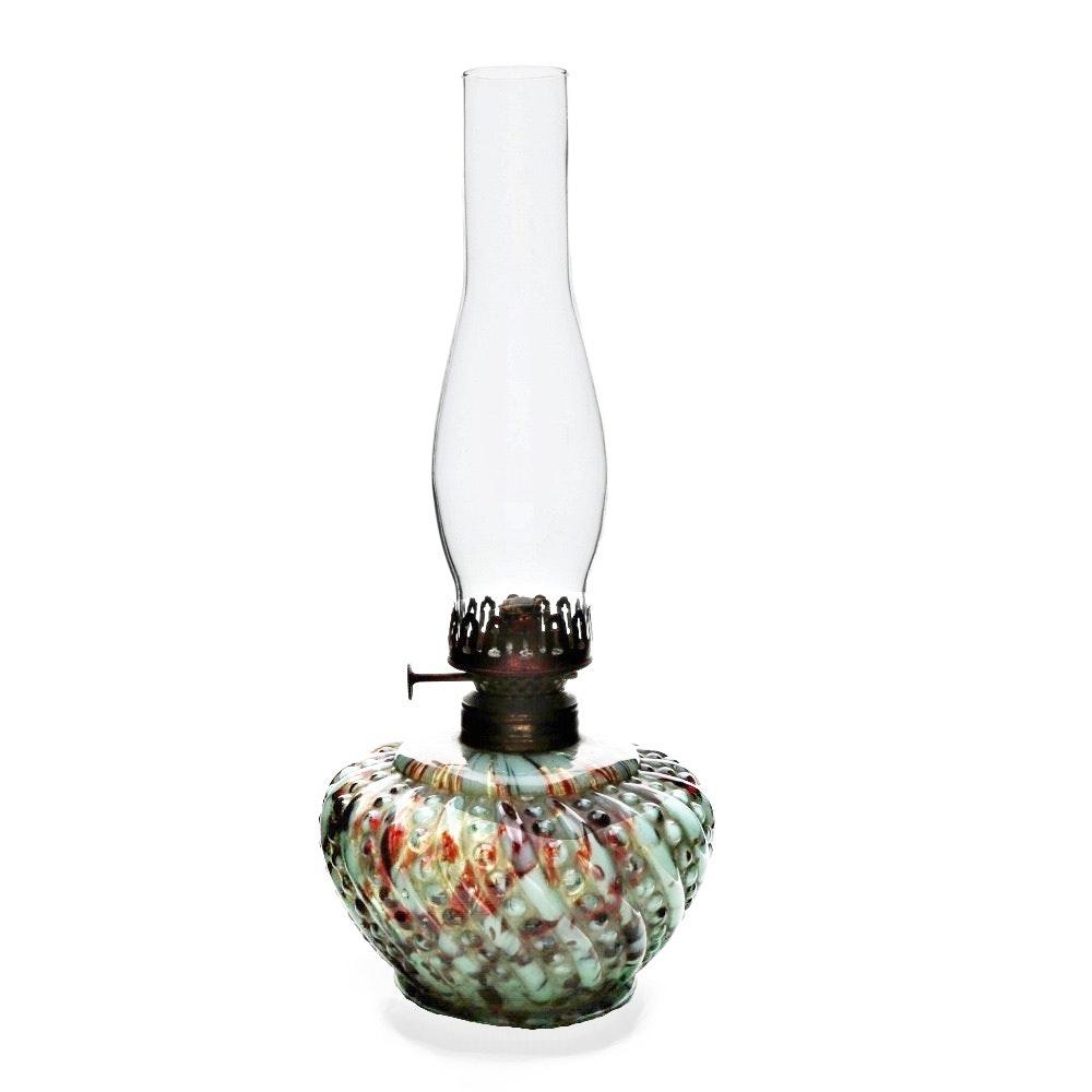 Antique Art Glass Oil Lamp