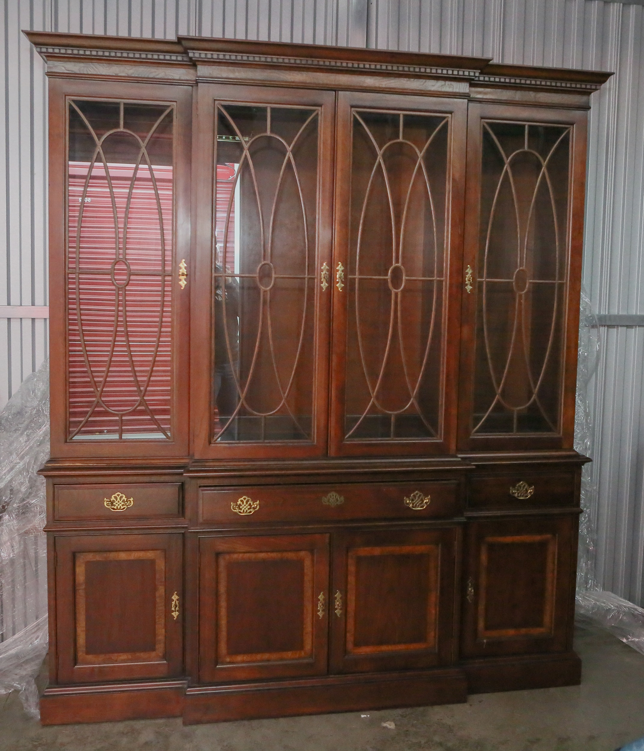 Large Cherry Breakfront China Cabinet By Pennsylvania House ...