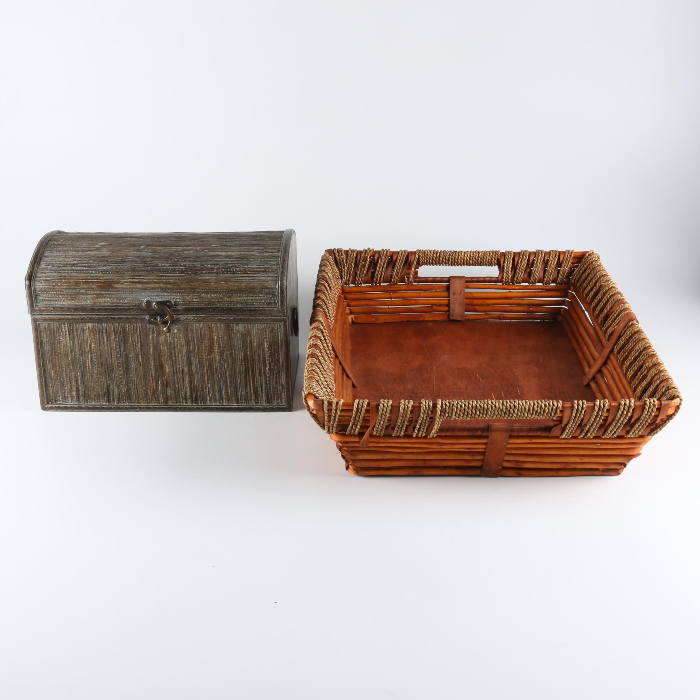 Decorative Chest and Woven Tray