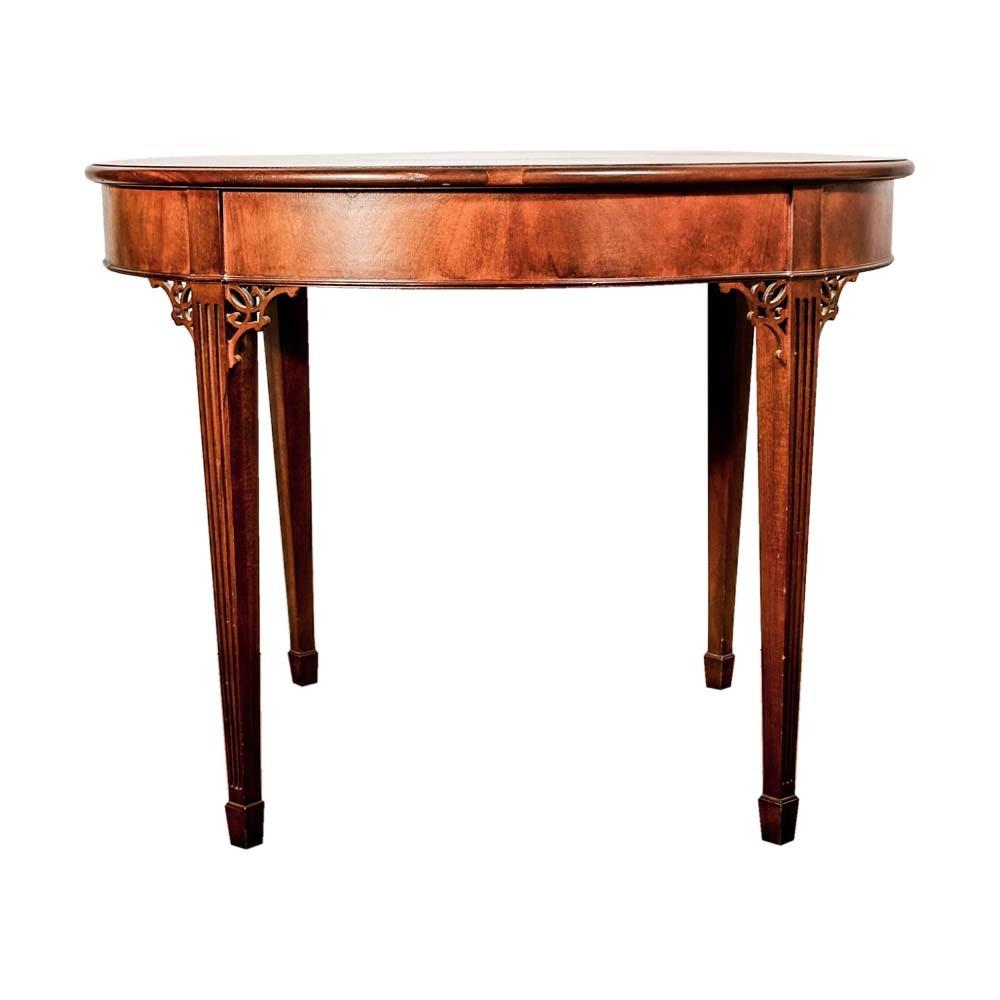 Hepplewhite Style Demilune Game Table