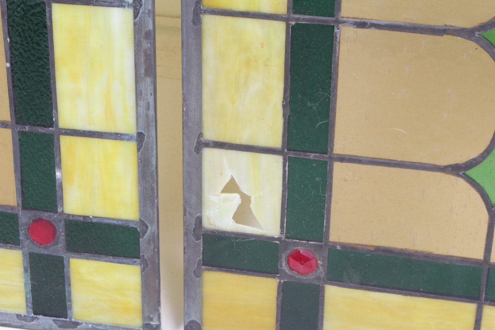 Stained glass transom window panels ebth for 15 panel beveled glass door