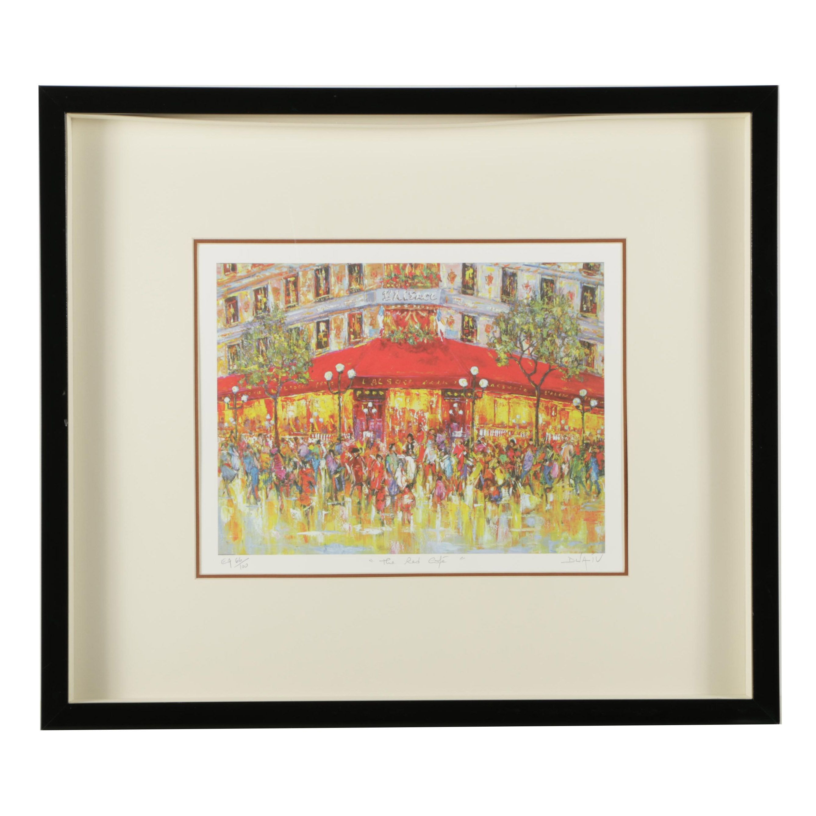 "Duaiv Limited Edition Offset Lithograph ""The Red Cafe"""