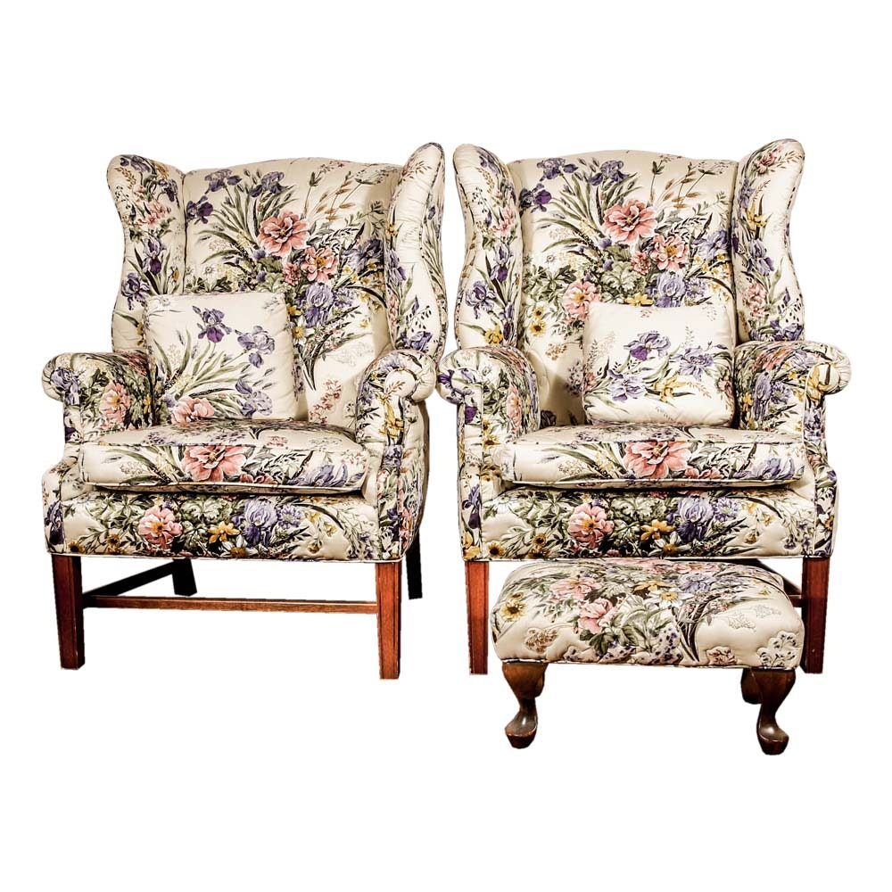 Pair of Quilted Wingback Chairs and Footstool