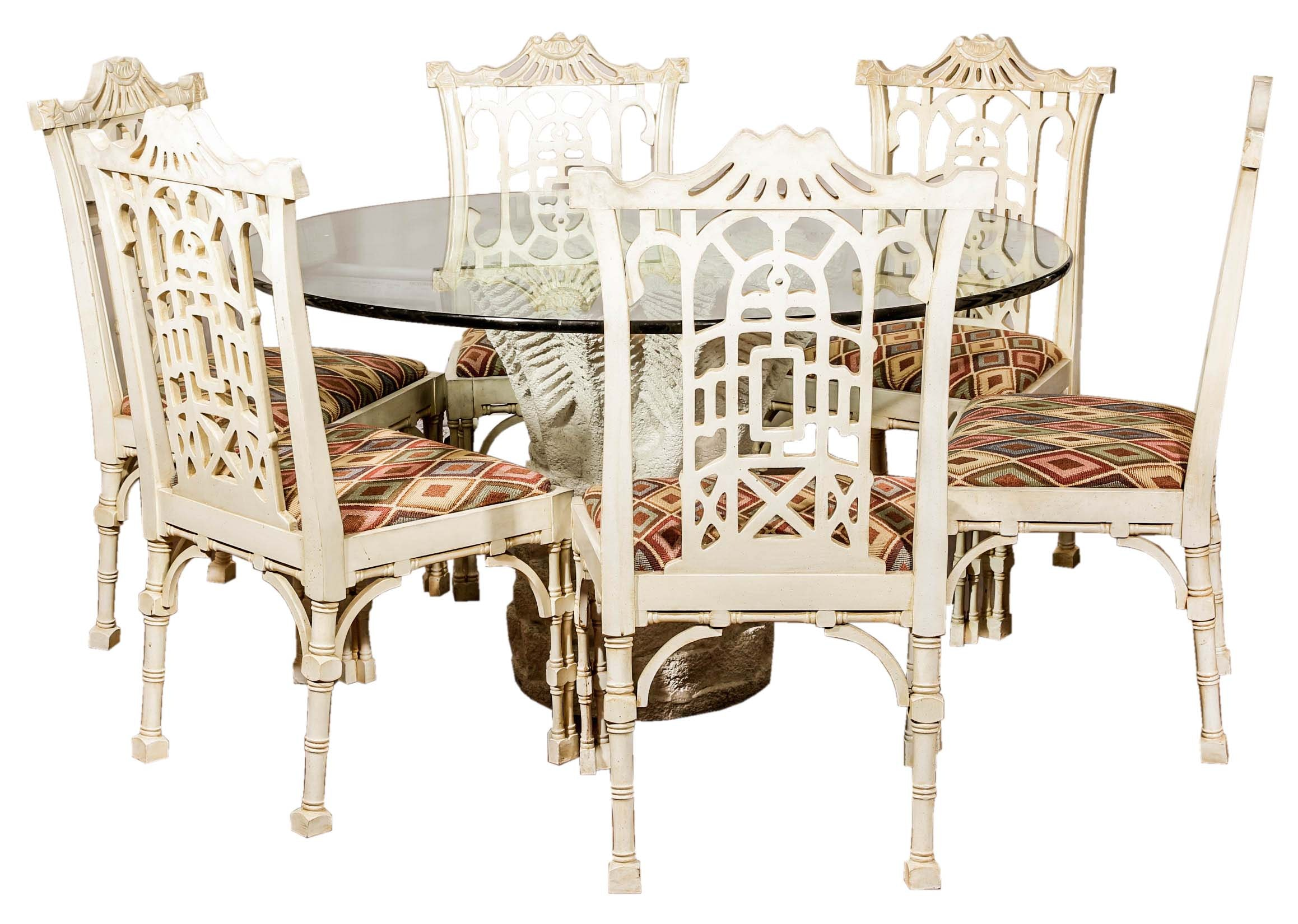 Chinese Chippendale Style Table and Chairs