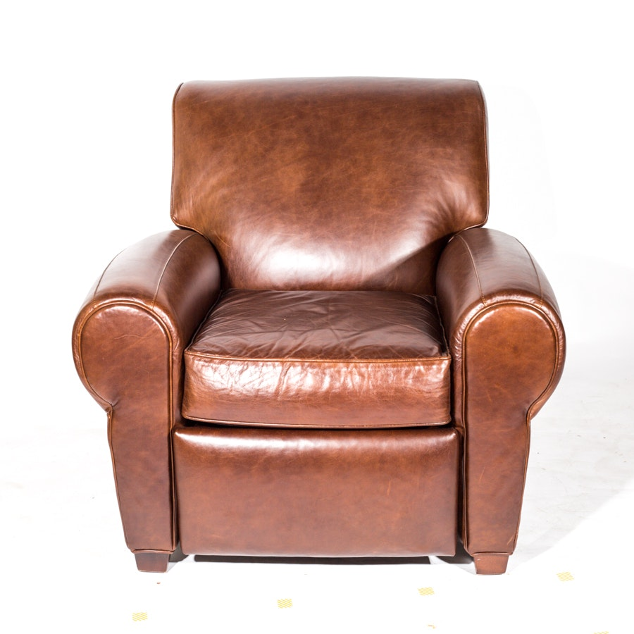 Pottery Barn Brown Leather Armchair Designed by Mitchell Gold and Bob Williams