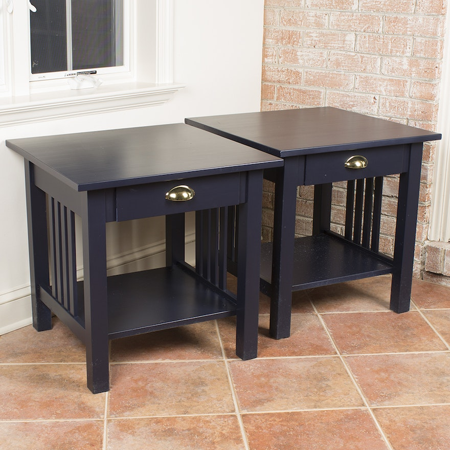 Blue Painted Mission Style End Tables