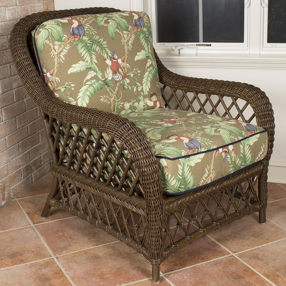 Resin Wicker Armchair With Monkey Cushions ...