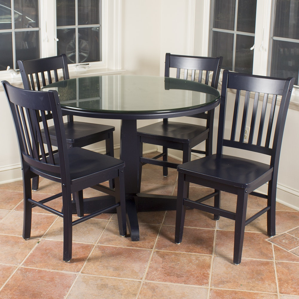 navy blue dining set with four chairs