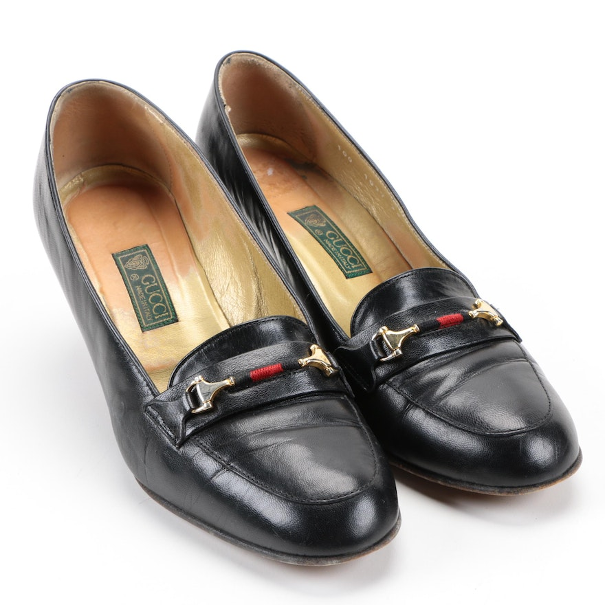 b324e550515 Vintage Gucci Black Leather Heeled Loafers   EBTH