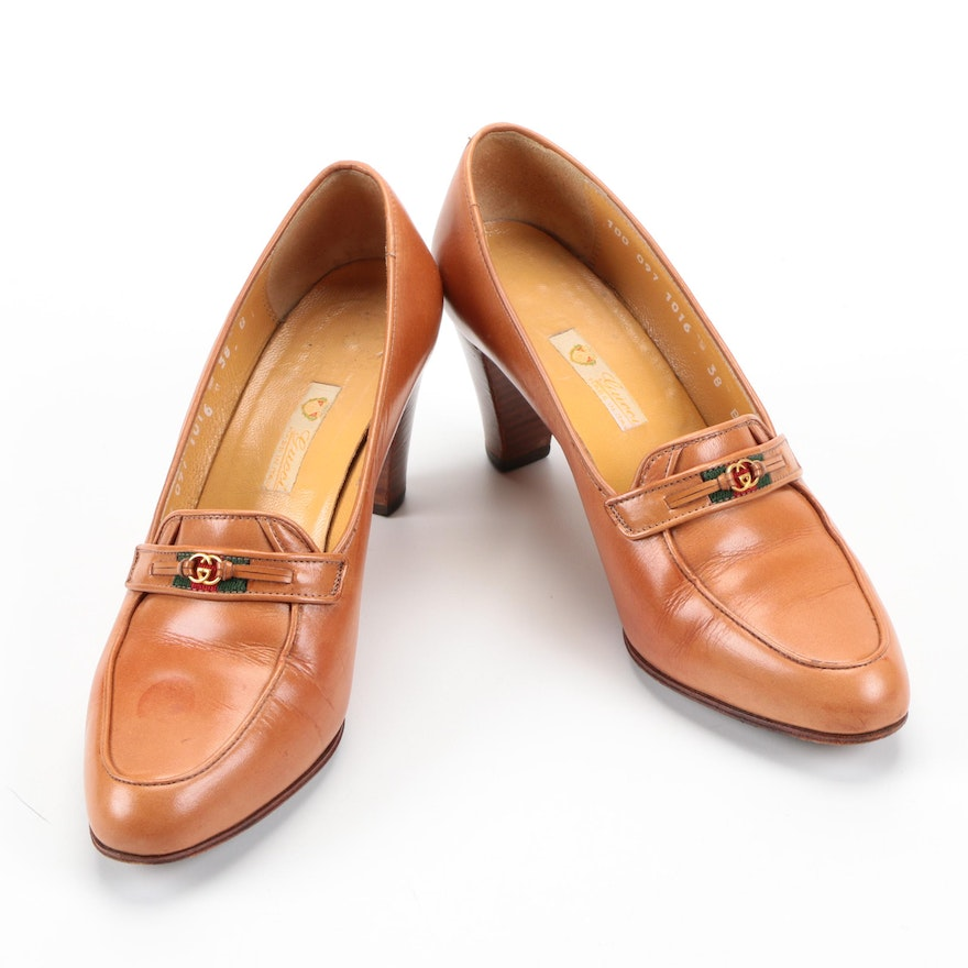 43226ca5e Vintage Gucci Tan Leather Heeled Loafers : EBTH