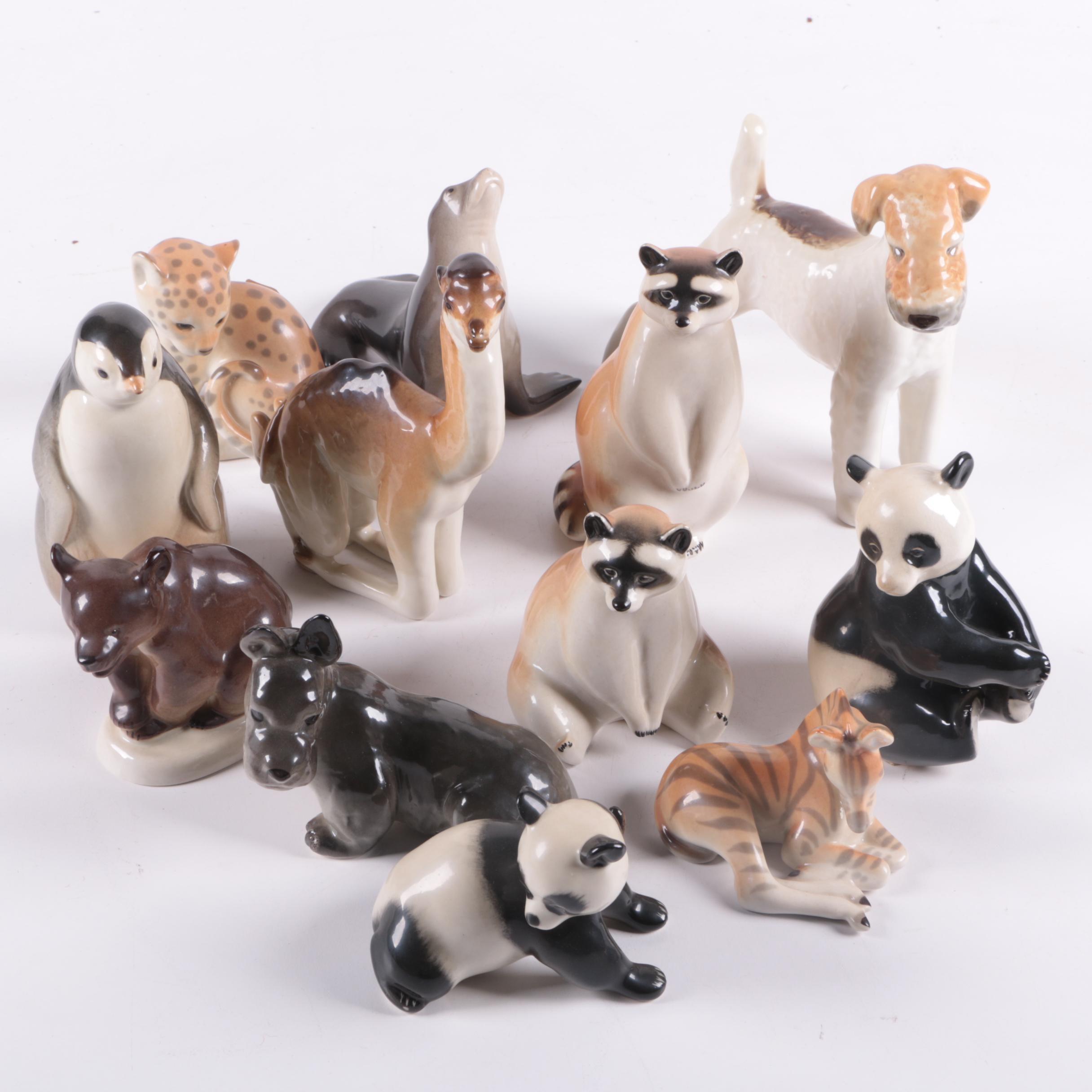 Collection of Lomonosov Russian Animal Figurines