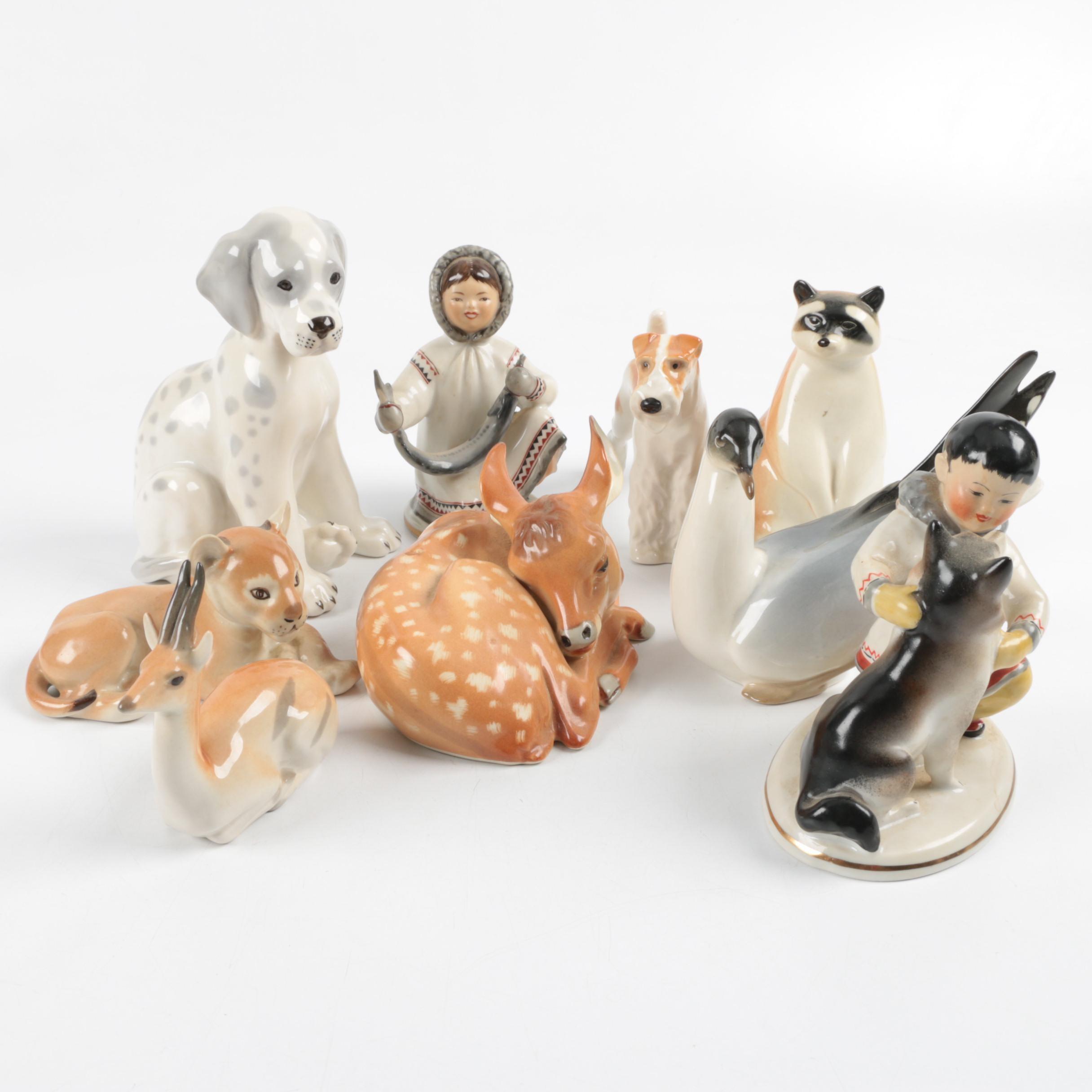 Collection of Russian Lomonosov Porcelain Figurines