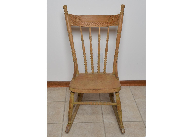 Vintage Oak Press Back Rocking Chair
