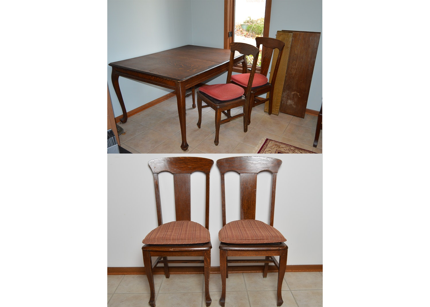 Vintage Walnut Dining Table with Chairs
