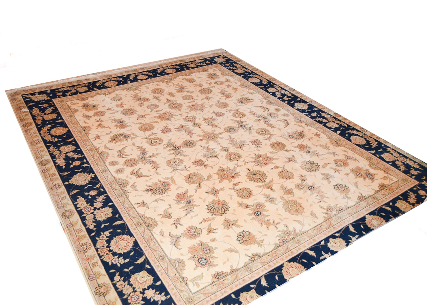 Finely Hand-Knotted Persian Kashan Wool Area Rug
