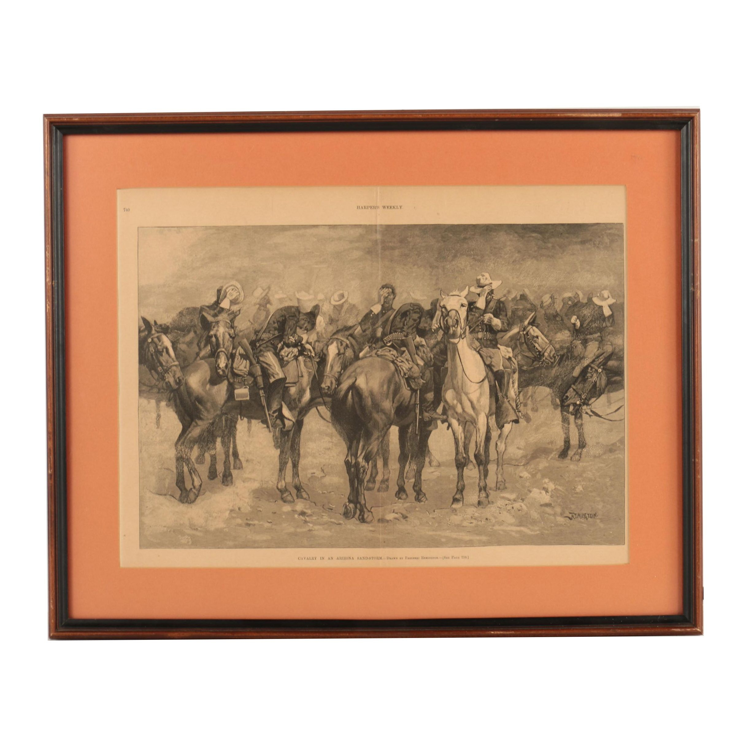 Wood Engraving After Frederic Remington from Harper's Weekly