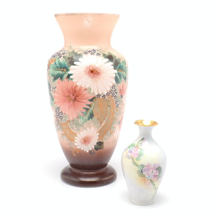Hand Painted Austrian Porcelain Bud Vase And Victorian Bristol Vase