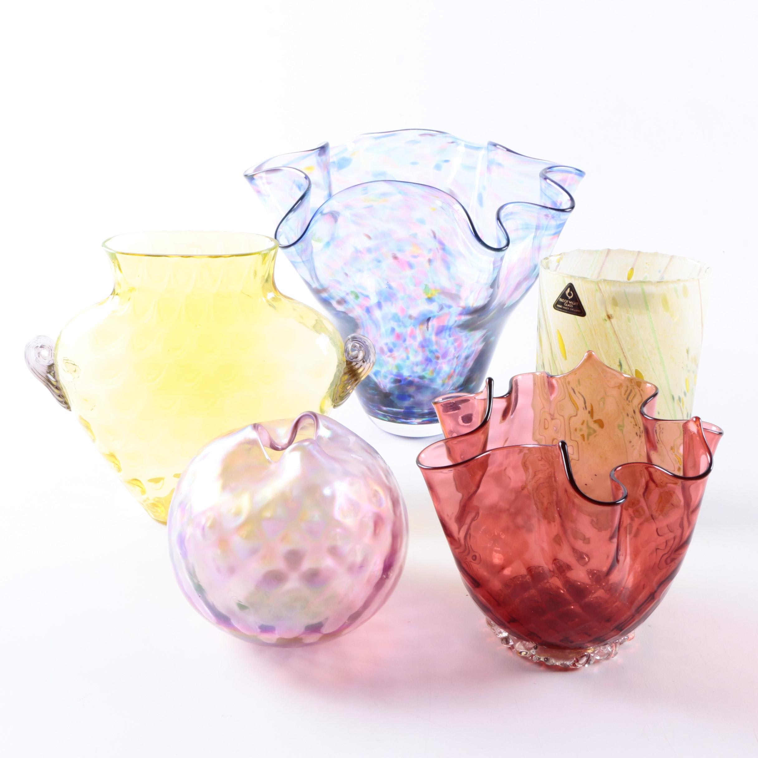 Collection of Colorful Art Glass Vases