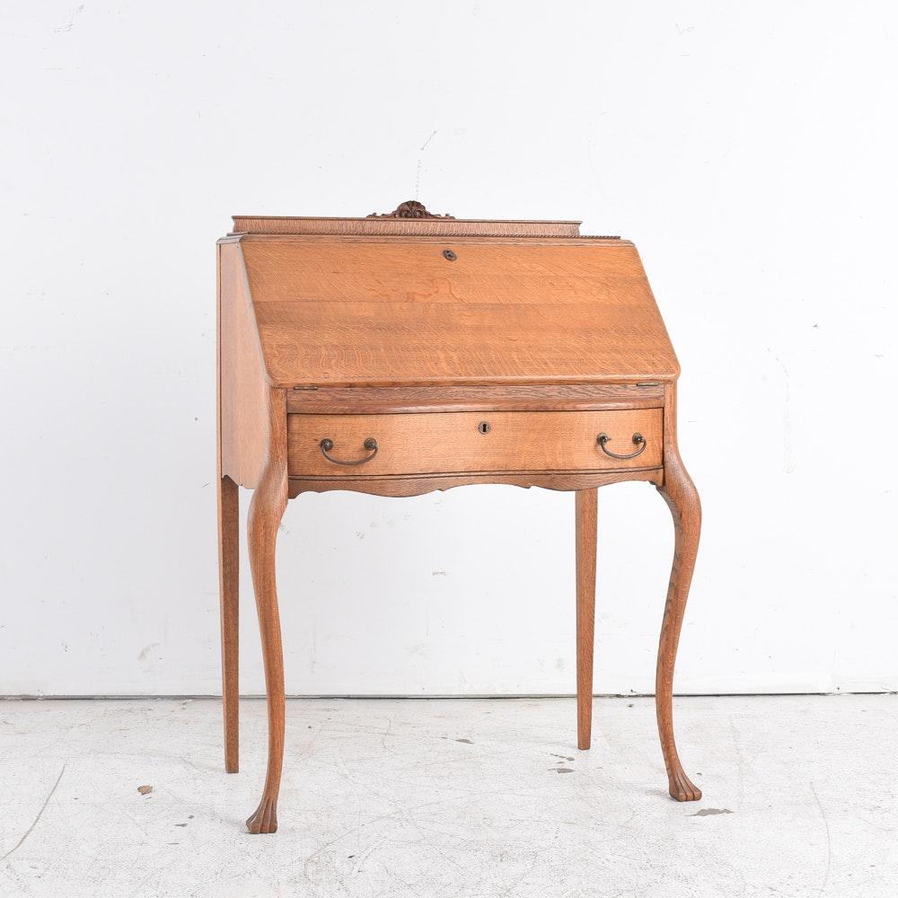 Antique American Oak Slant Front Writing Desk