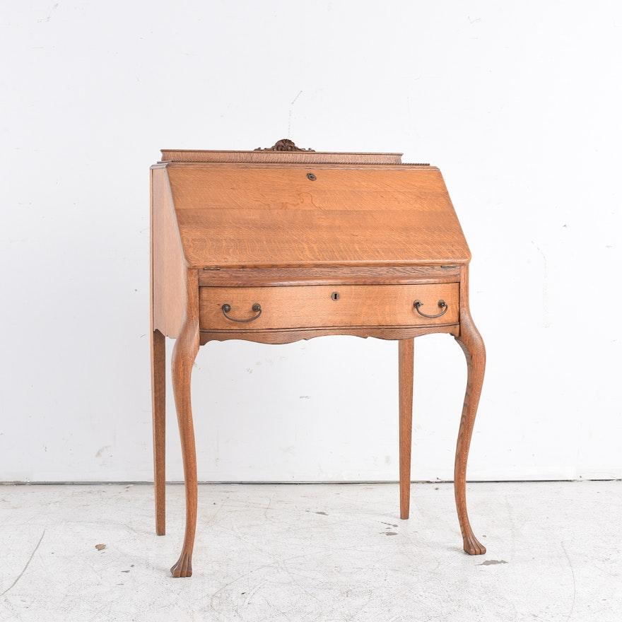 - Antique American Oak Slant Front Writing Desk : EBTH