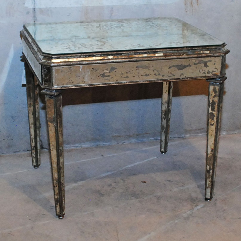 Distressed Mirrored Side Table by Currey & Company