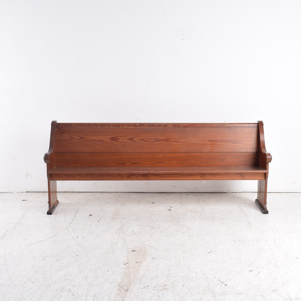 Vintage Oak Church Pew