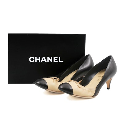 Chanel Beige and Black Kitten Heel Pump with Bow, Never Worn