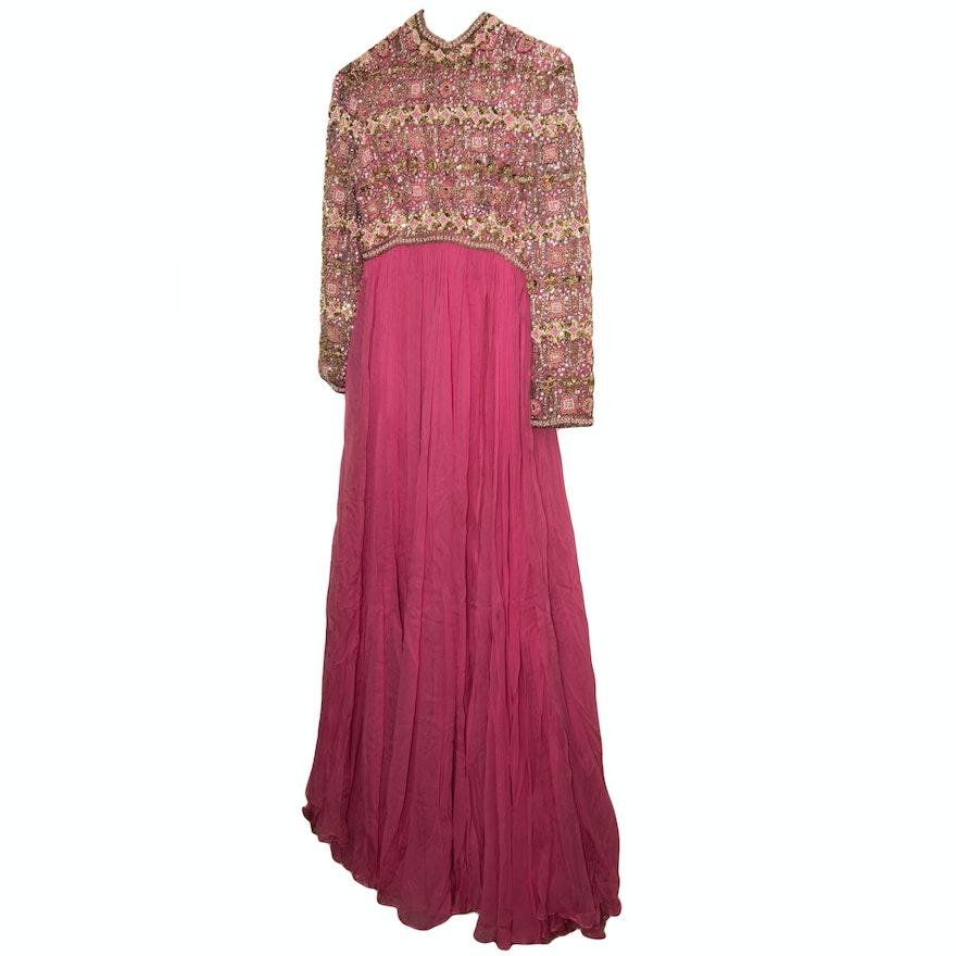 Vintage Victoria Royal Ltd. Embellished Silk Evening Dress : EBTH