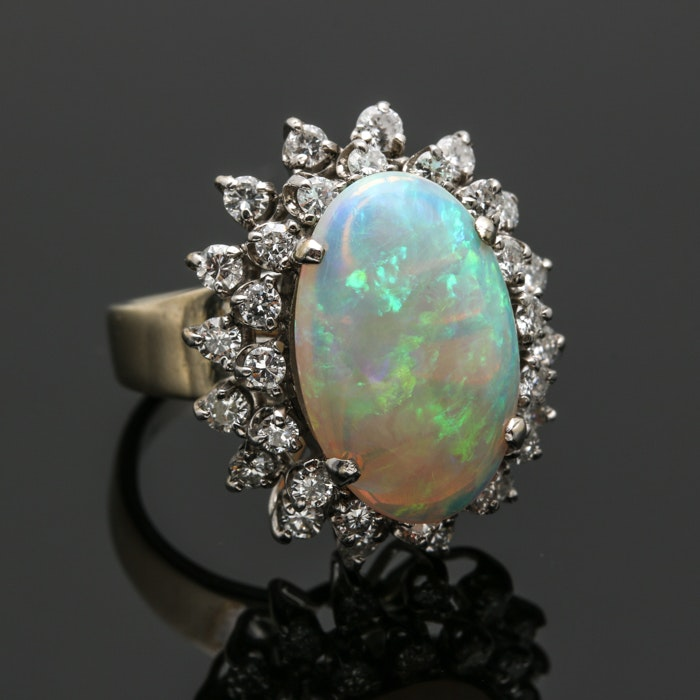 14K White Gold Opal and 1.44 CTW Diamond Ring