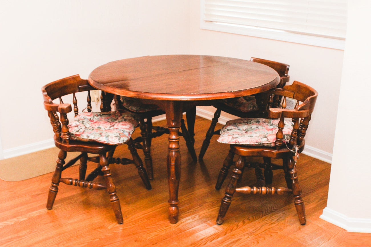 Vintage Walnut Dining Table With Captains Chairs Ebth