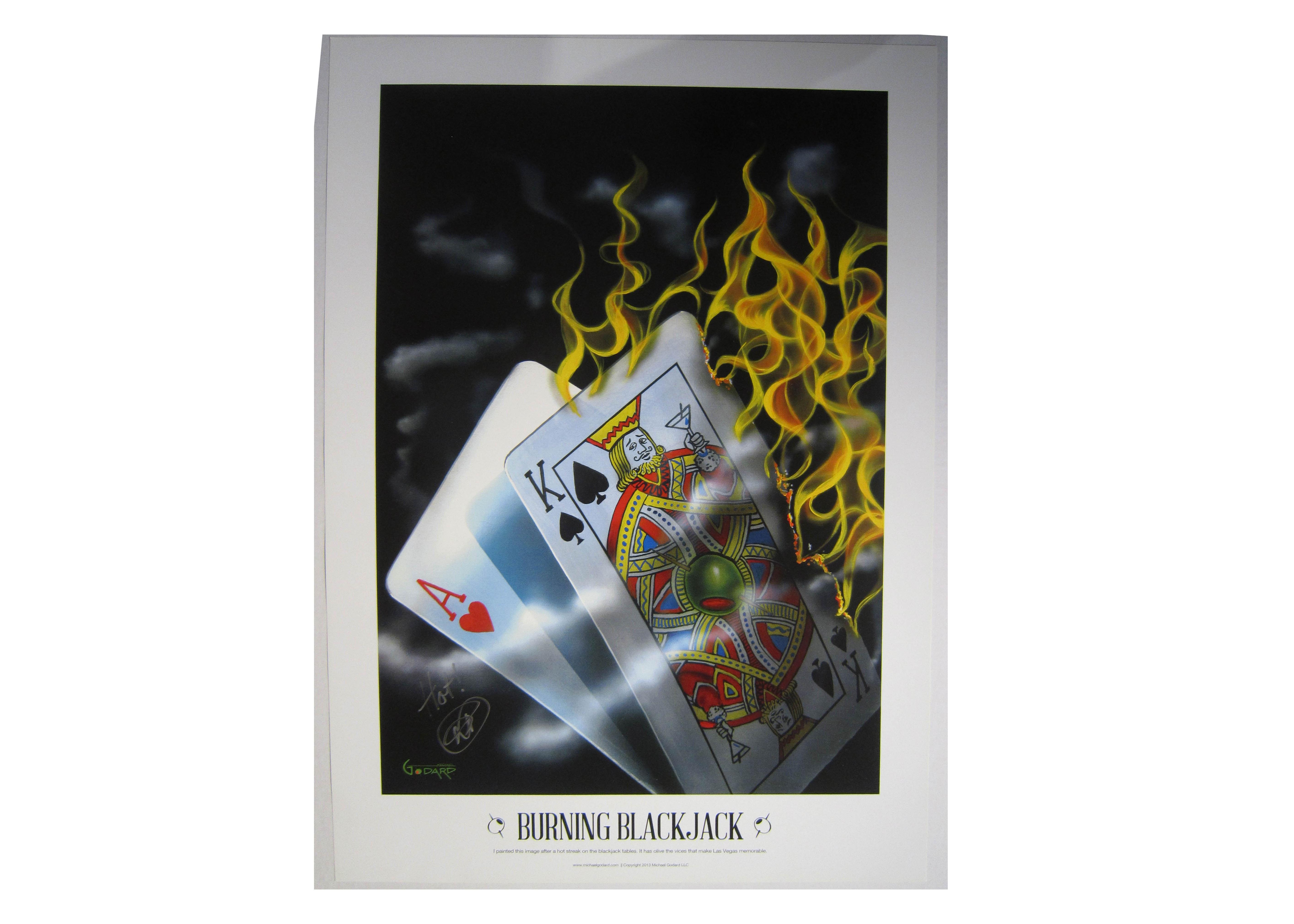 """Michael Godard Limited Edition Signed Poster """"Burning Blackjack"""""""