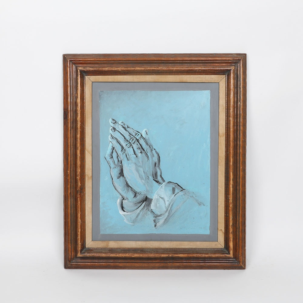 "Reproduction Acrylic on Canvas Board After Albrecht Dürer's ""Praying Hands"""