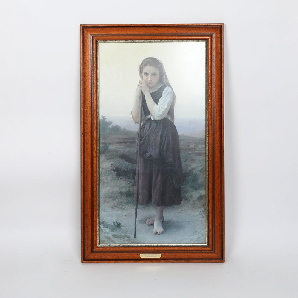 "Reproduction Print on Paper After William Bouguereau ""The Peasant Girl"""