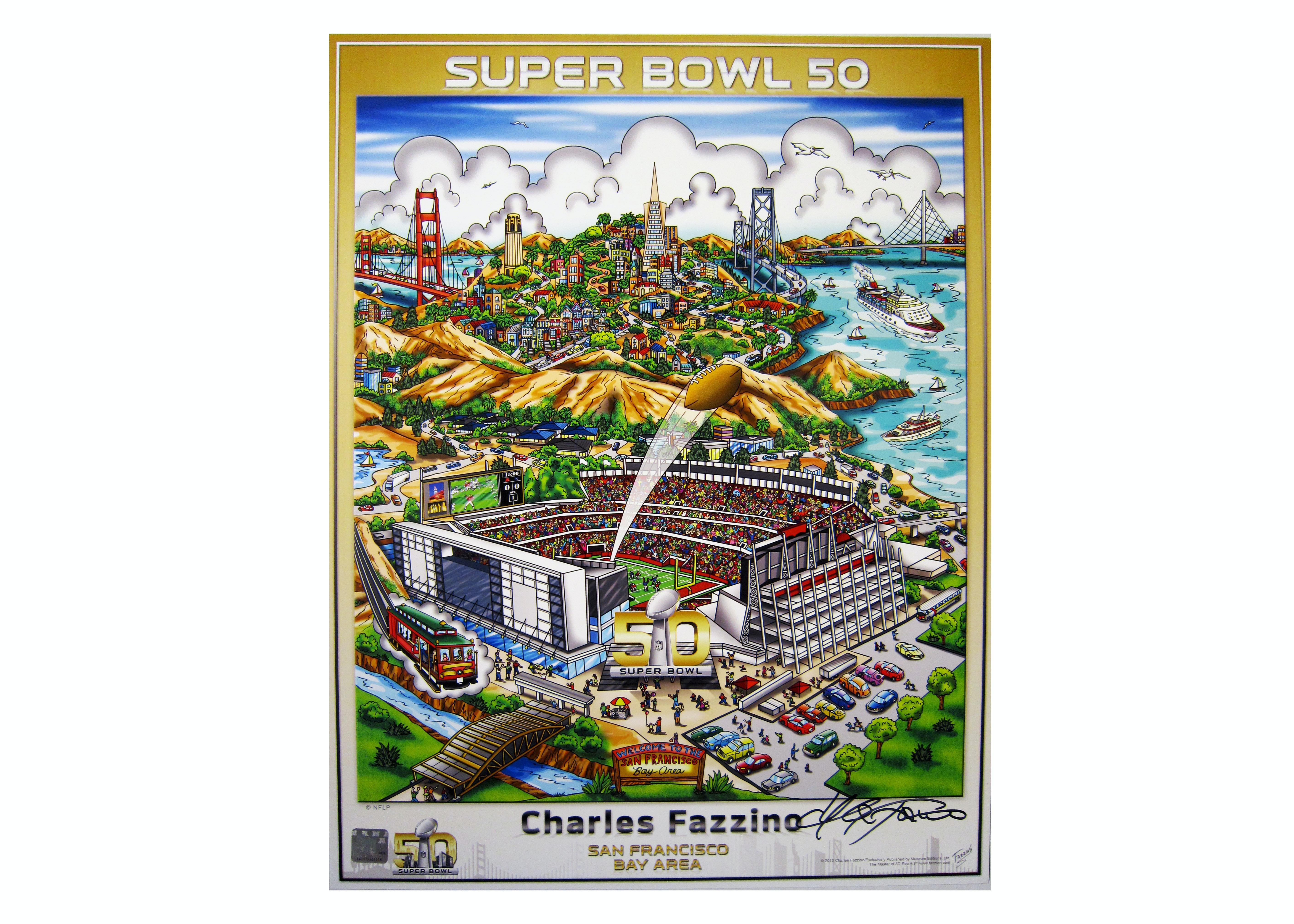 "Charles Fazzino Limited Edition Poster ""Superbowl 50: San Francisco"""