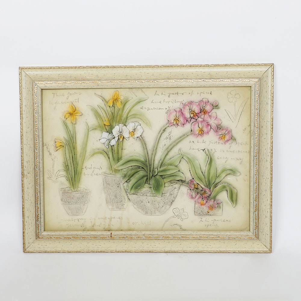 Painted Tile of Orchids in Low Relief