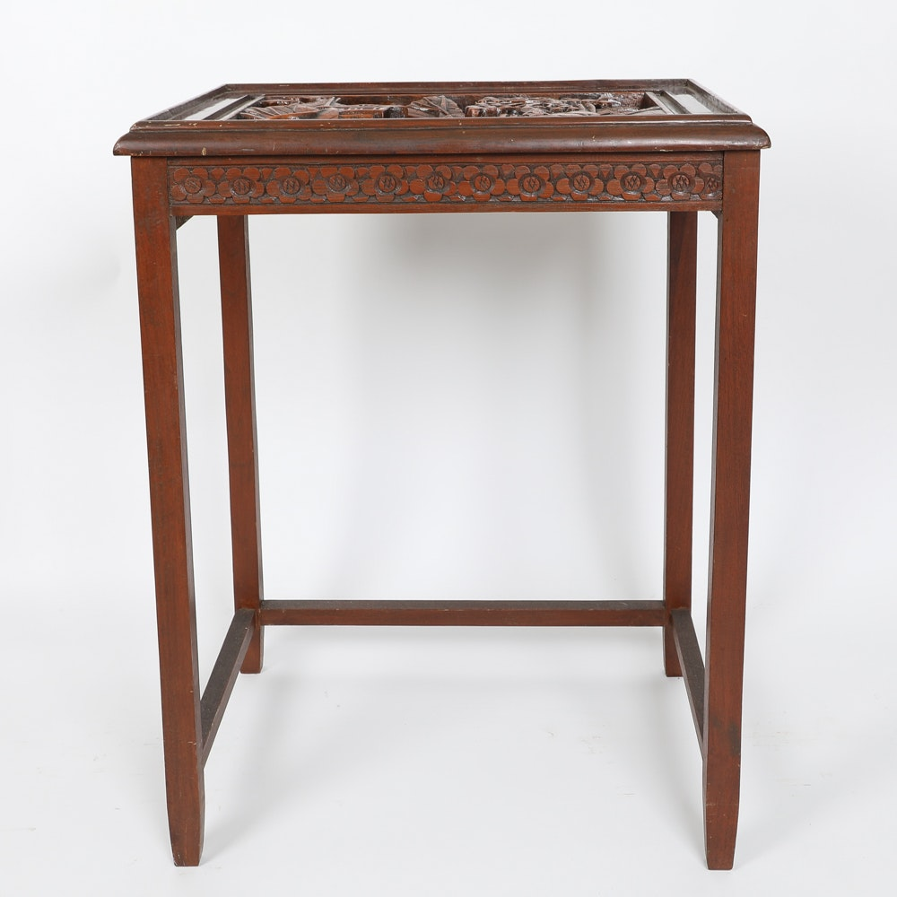 Heavily Carved Wooden Chinese Stand