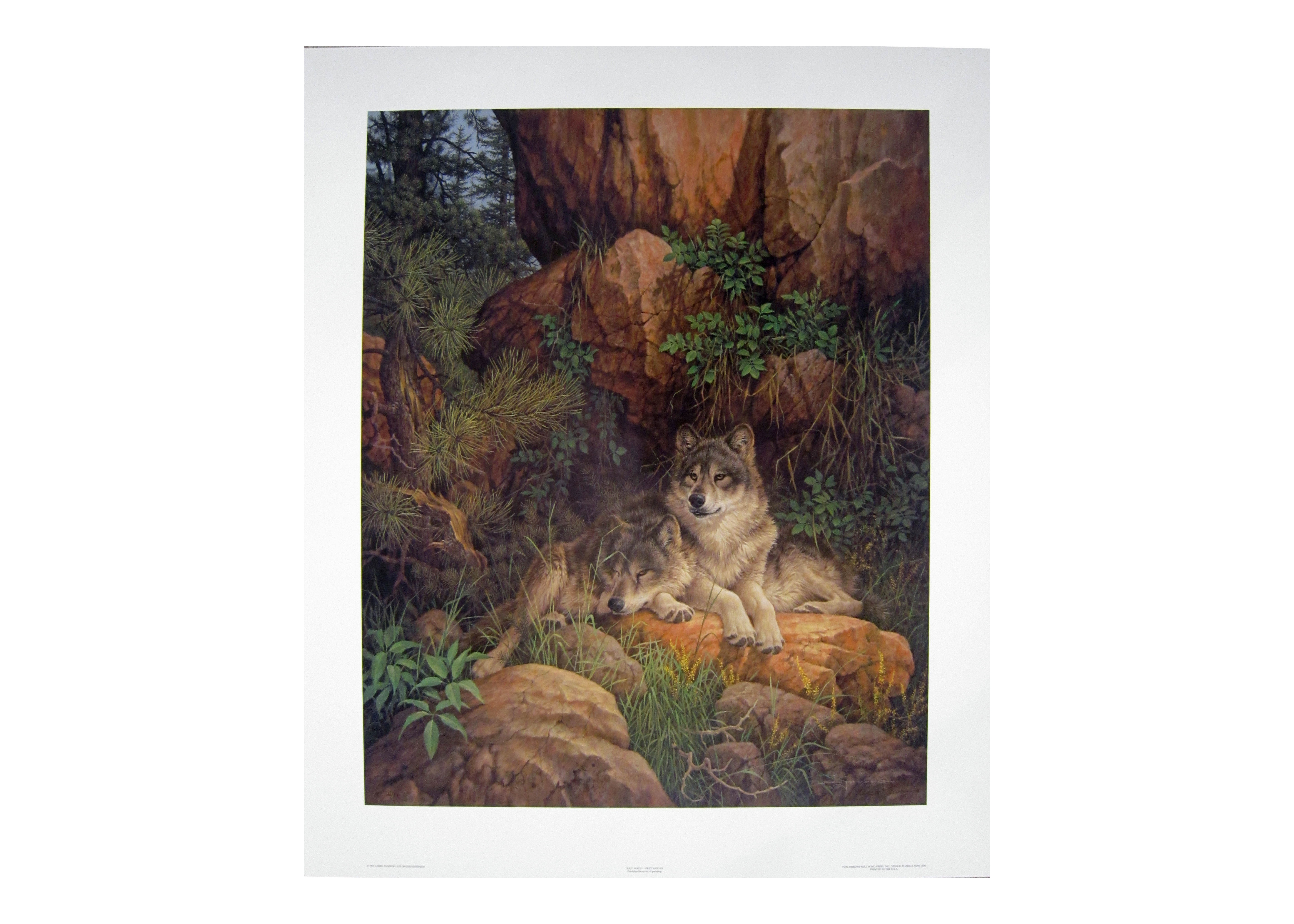 """Larry Fanning Artist Proof Offset Lithograph """"Soul Mates - Gray Wolves"""""""