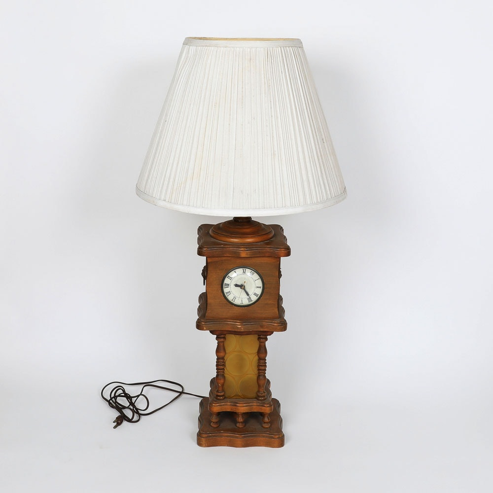 Vintage Wood Lamp with Clock Insert