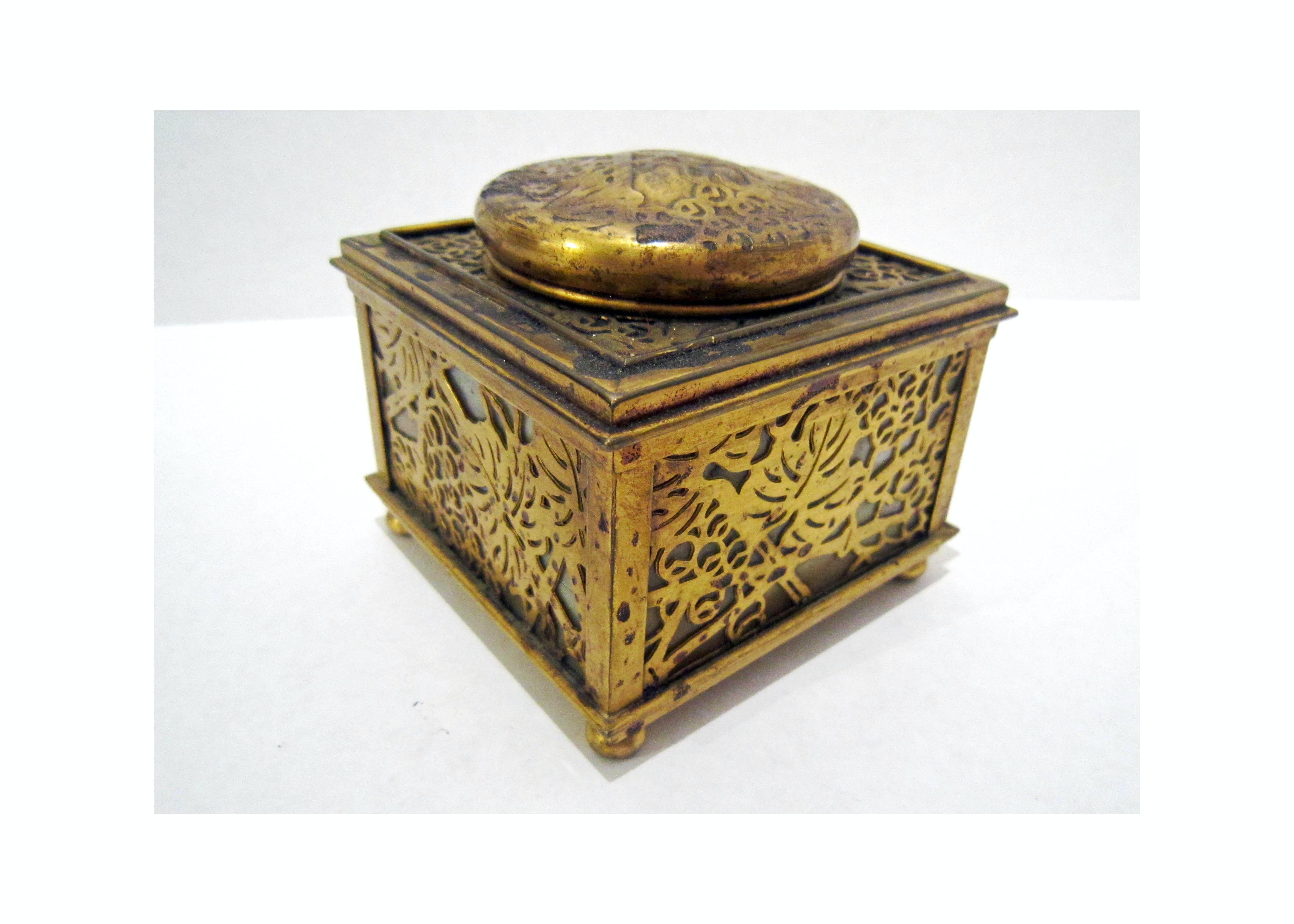 "Tiffany Studios ""Grapevine"" Bronze and Slag Glass Inkwell"