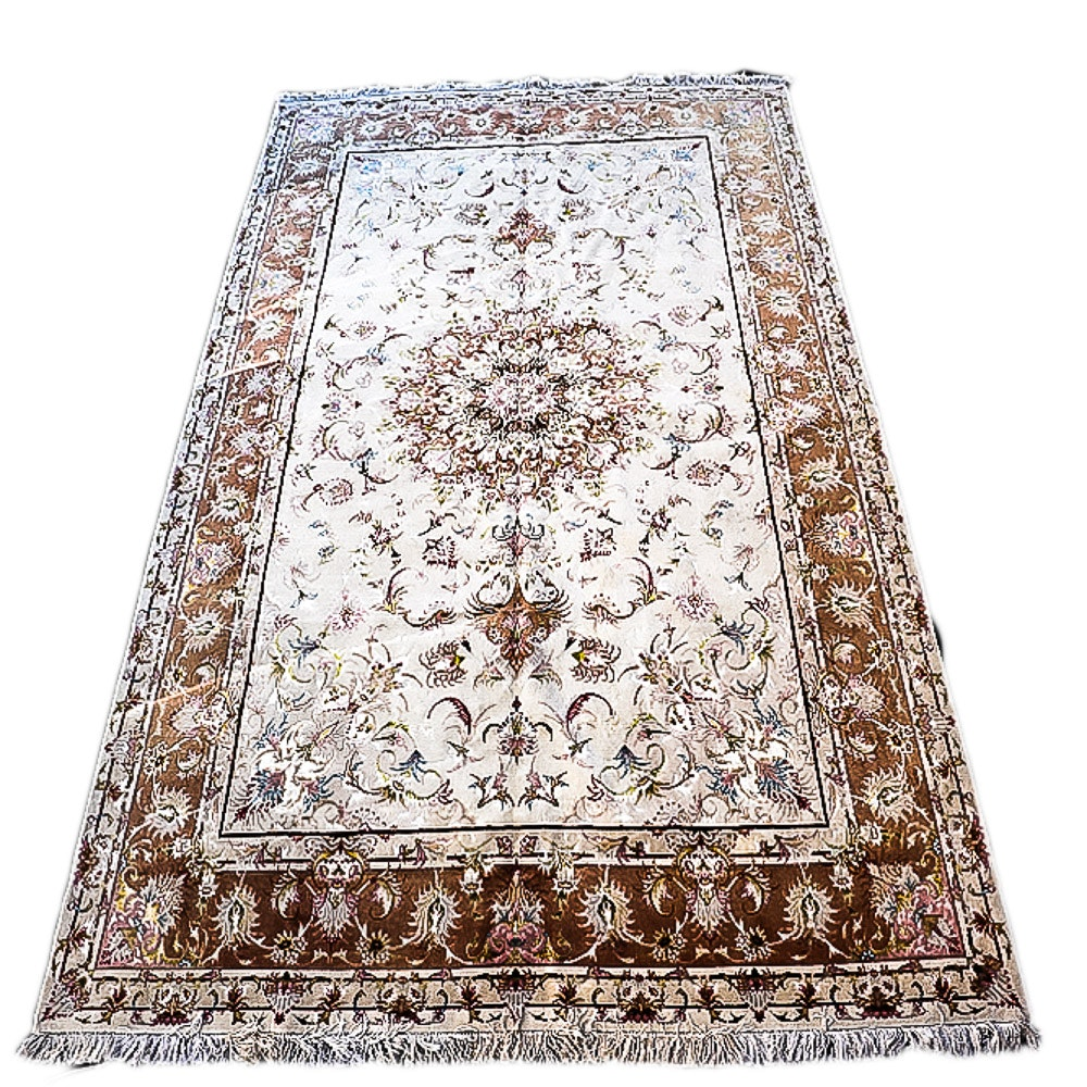 Finely Hand-Knotted Persian Tabriz Silk Foundation Area Rug