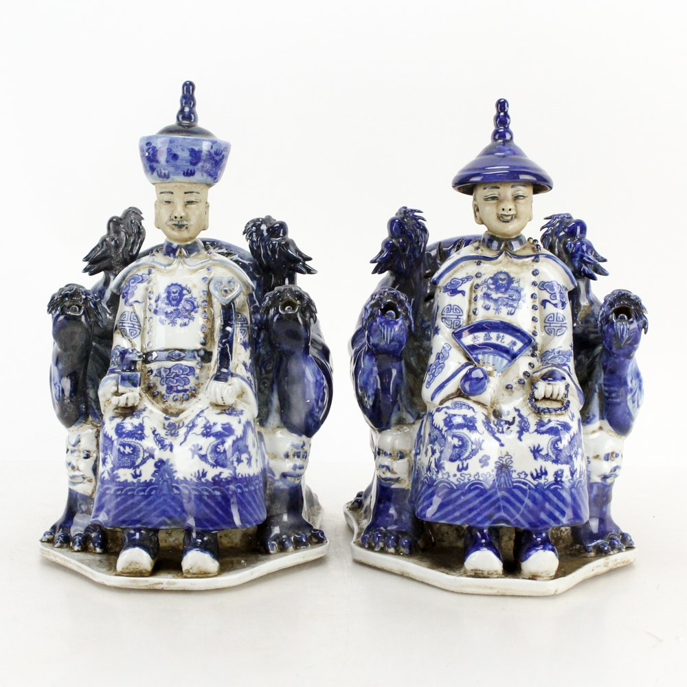 Vintage Chinese Ceramic Emperor and Empress Figurines