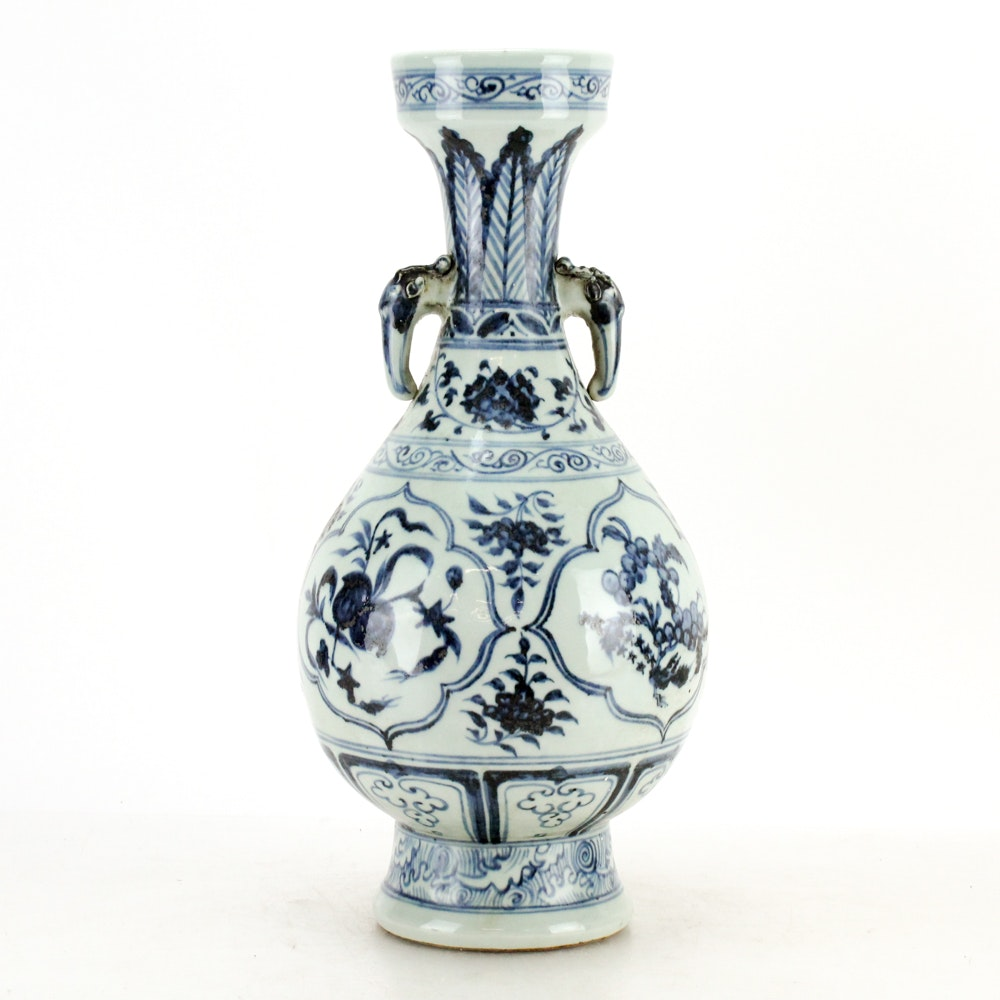 Chinese Blue and White Floral Themed Ceramic Vase