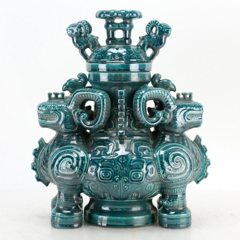 Chinese Green Ceramic Decorative Urn