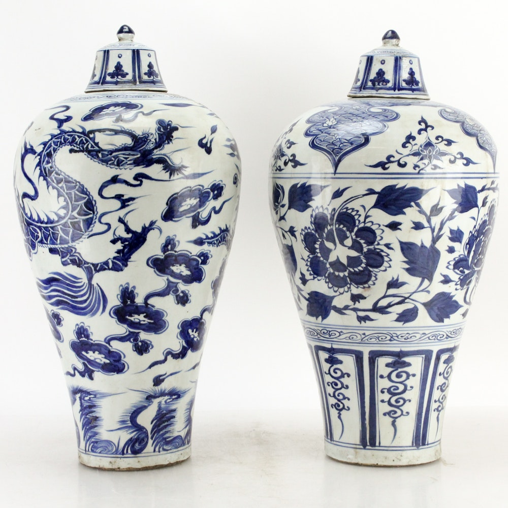Chinese Blue and White Dragon Urns