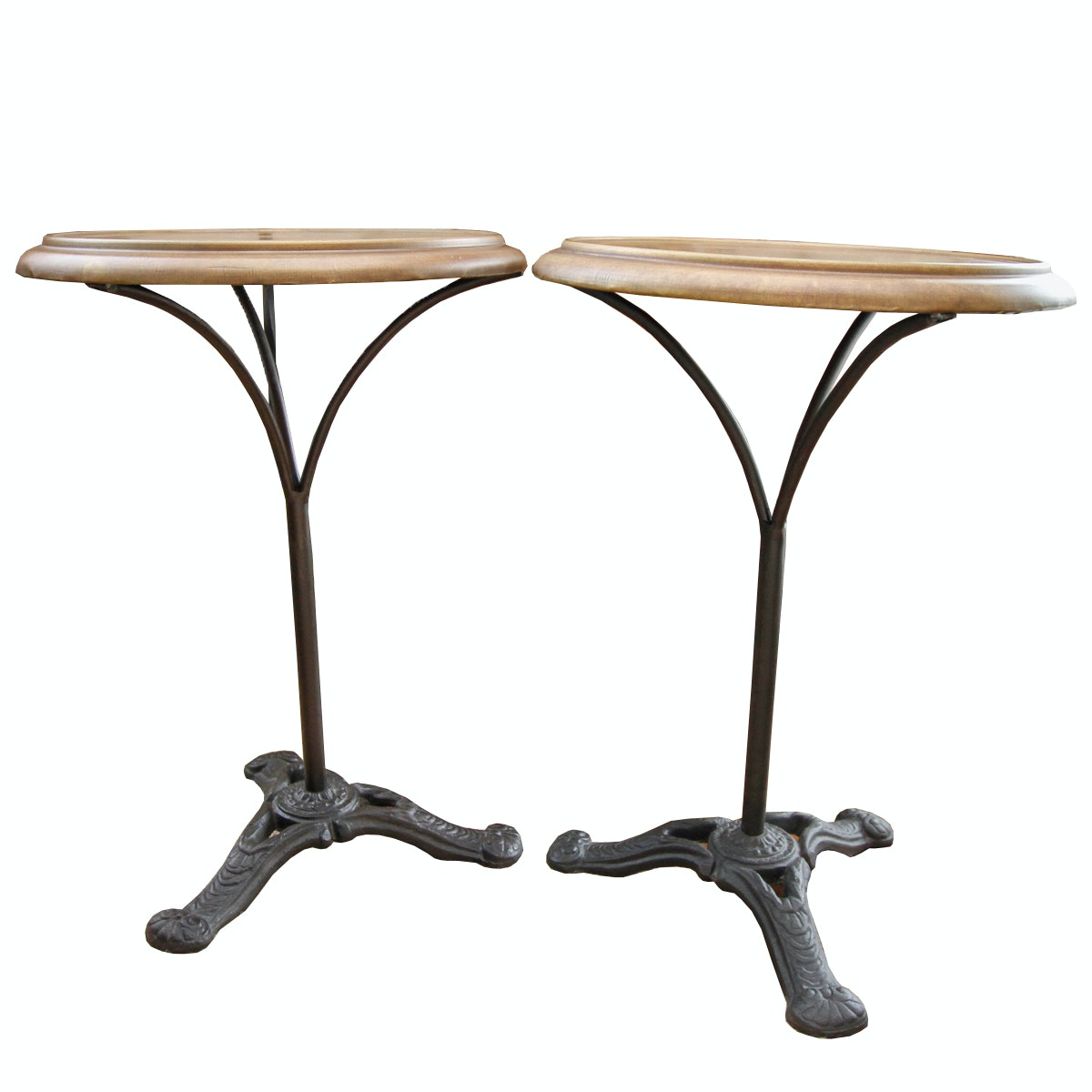 Pair of Accent Tables on Wrought Iron Bases