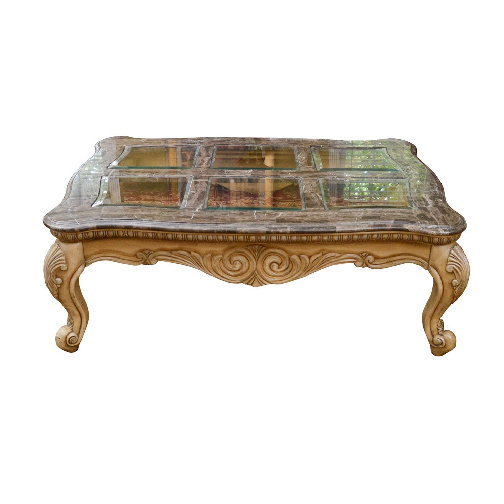 French Provincial Style Faux Marble And Glass Top Coffee