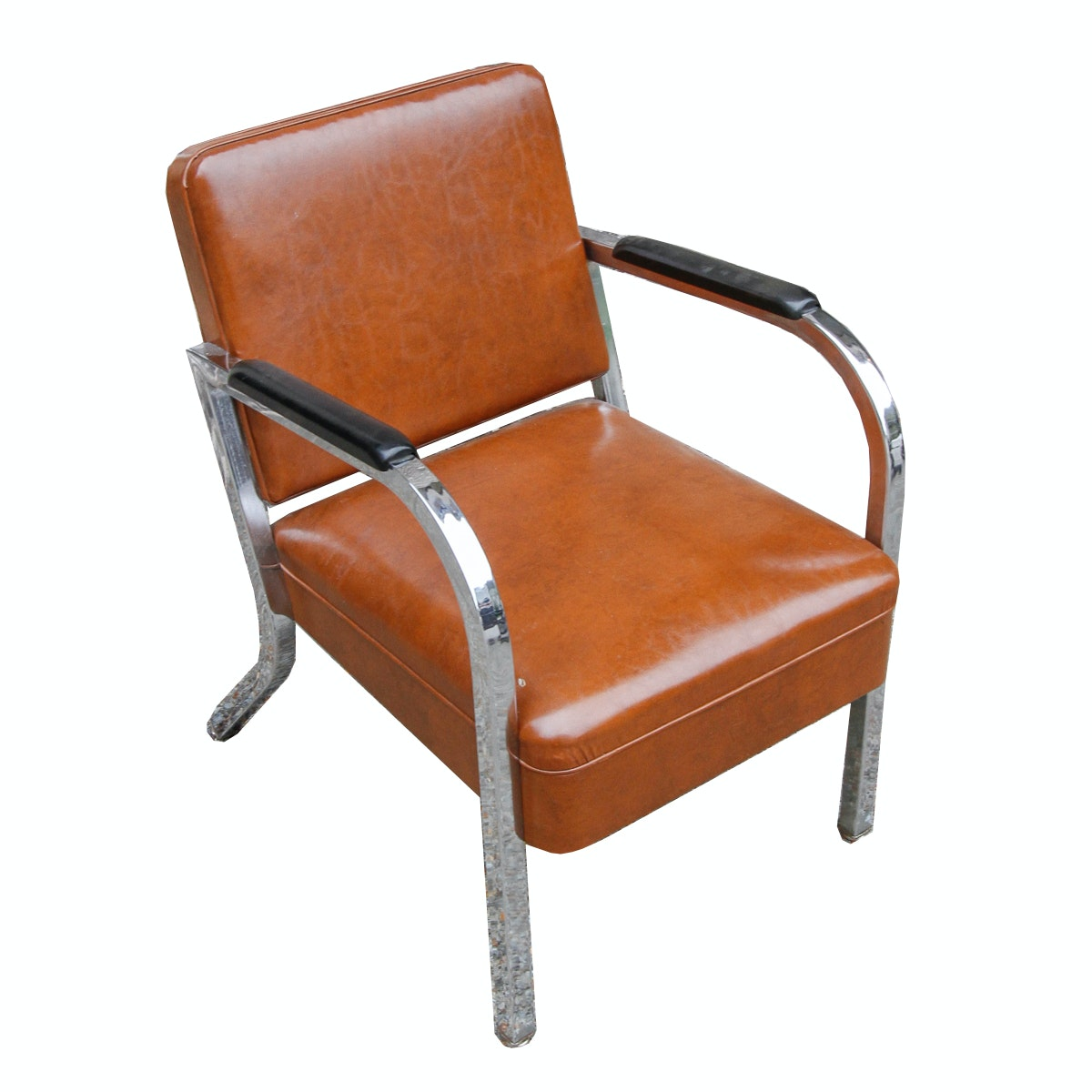 Vintage Mid-Century Leather and Metal Armchair